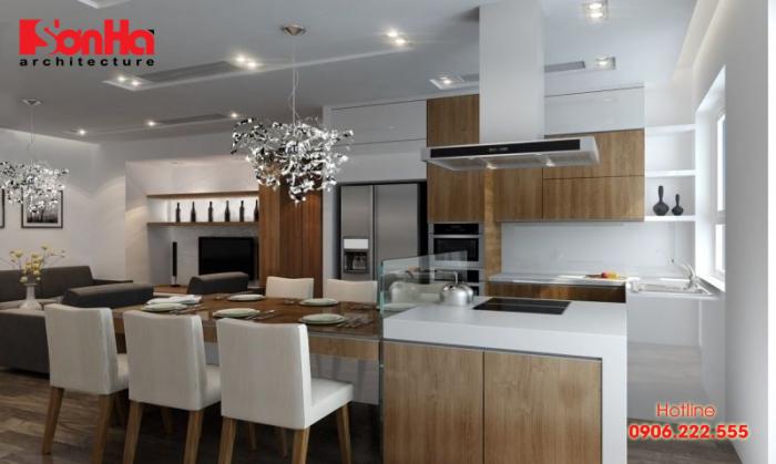 Không gian bếp phong cách hiện đại với bố trí vật dụng tiện nghi