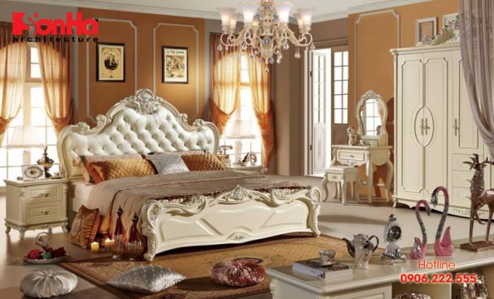 Không gian sang trọng xa hoa của phòng ngủ master bố trí đẹp tân cổ điển