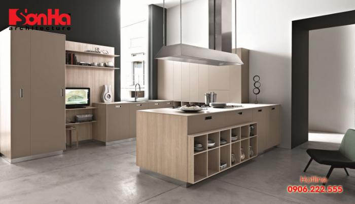 Mẫu bếp đẹp với bố trí đồ nội thất gỗ công nghiệp màu sắc đẹp