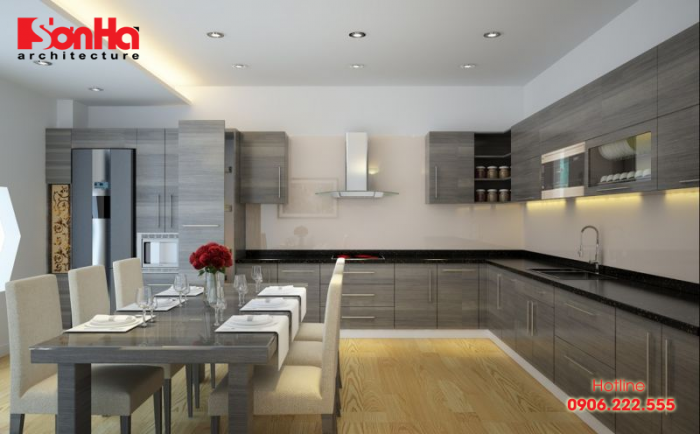 Màu ghi hoặc xám nhiều khi là lựa chọn cho không gian bếp cá tính