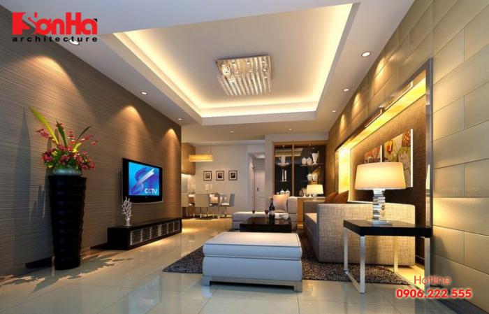 Mẫu thiết kế phòng khách nhà ống sang trọng phong cách hiện đại