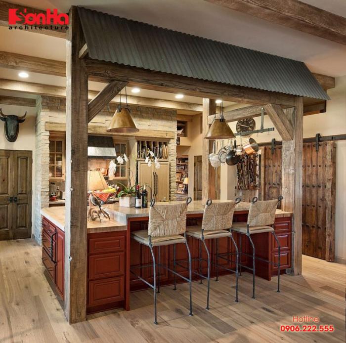 Nội thất gỗ được sử dụng đồng màu và xuyên suốt trong trang trí bếp