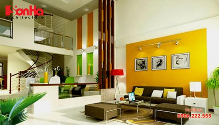 Phương án thiết kế nội thất nhà phố với gam màu phù hợp mệnh Kim