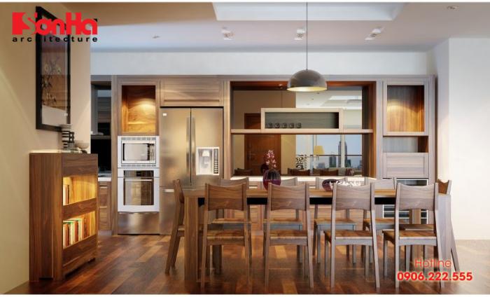 Thiết kế bếp đẹp với tủ bếp và nội thất làm bằng gỗ óc chó