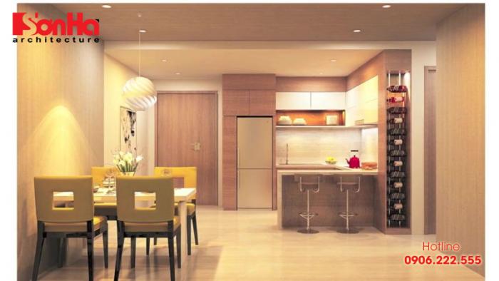Thiết kế bếp giản dị, gọn gàng và tiện nghi phong cách hiện đại