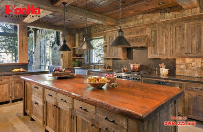 Thiết kế nội thất nhà bếp đẹp phong cách Rustic mộc mạc nhưng vô cùng cuốn hút
