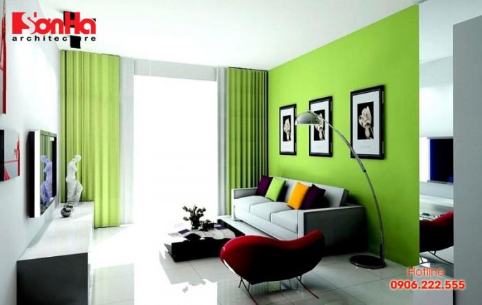 Thiết kế nội thất phòng khách căn hộ thêm sang trọng với màu xanh lá cây