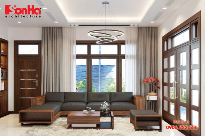 Thiết kế phòng khách biệt thự đẹp mắt với nội thất gỗ màu sắc đẹp