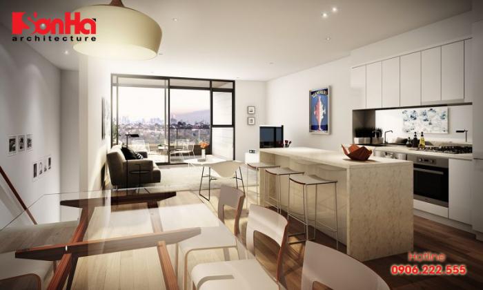Thiết kế phòng khách liên thông nhà bếp phong thủy với bí quyết đơn giản