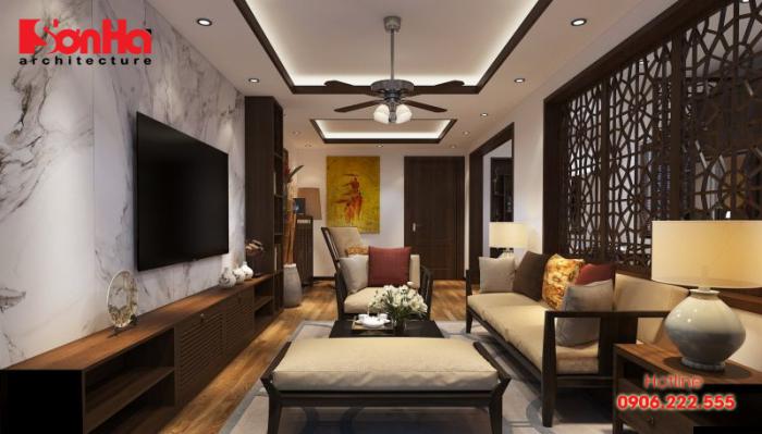 Trang trí phòng khách nhà ống với các vật dụng nội thất bằng gỗ sang trọng