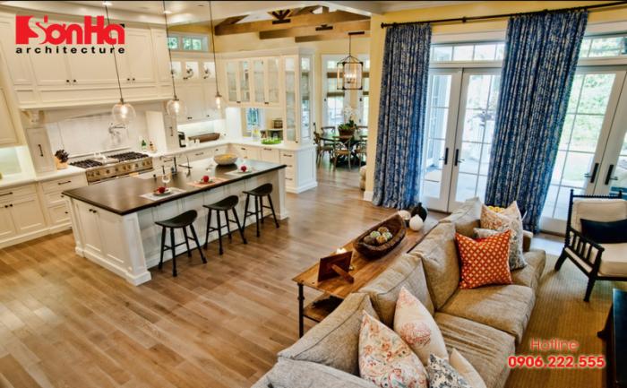 Việc lựa chọn màu sơn cho không gian phòng khách và bếp liên thông khá quan trọng
