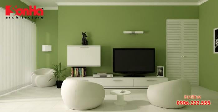 Ý tưởng trang trí nội thất phòng khách màu xanh lá cây cho người tuổi Quý Sửu