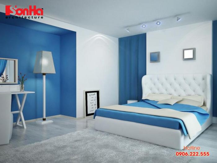 Không gian nội thất phòng ngủ thanh nhã màu xanh dương cho tuổi Quý Sửu