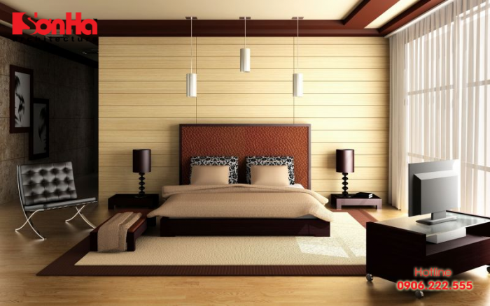 Mẫu phòng ngủ đẹp và ấm cúng sử dụng gam màu nâu đất tinh tế