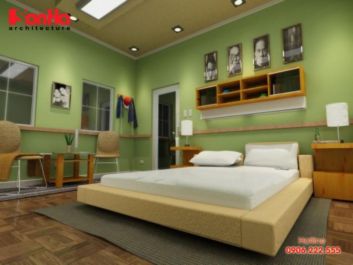 Một ví dụ về cách thiết kế nội thất phòng ngủ màu xanh lá cây tuổi Mậu Ngọ