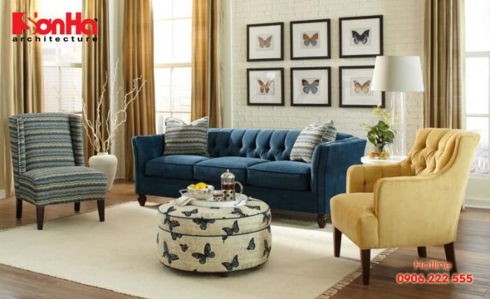 Phòng khách hợp với gia chủ tuổi Canh Dần nhất nên lựa màu xanh lam