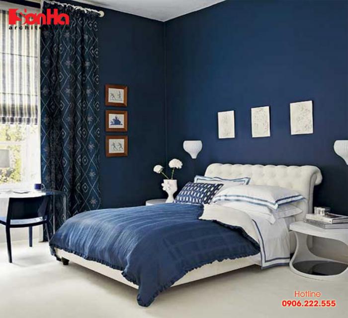 Thiết kế nội thất phòng ngủ đẹp màu xanh đậm cho người tuổi Đinh Sửu