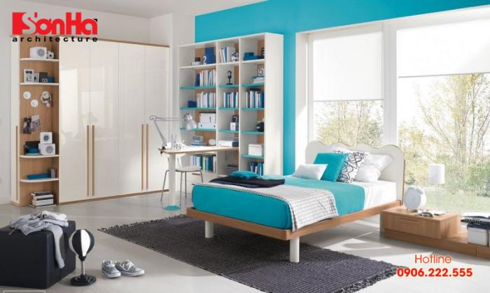Thiết kế phòng ngủ đẹp cho người tuổi Nhâm Ngọ với màu xanh da trời