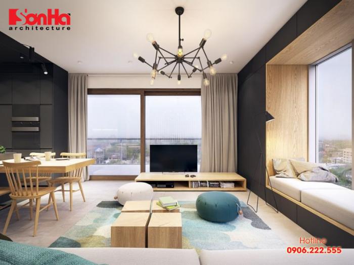 Xanh lam là màu sắc hợp phong thủy trong thiết kế phòng khách tuổi Canh Thân