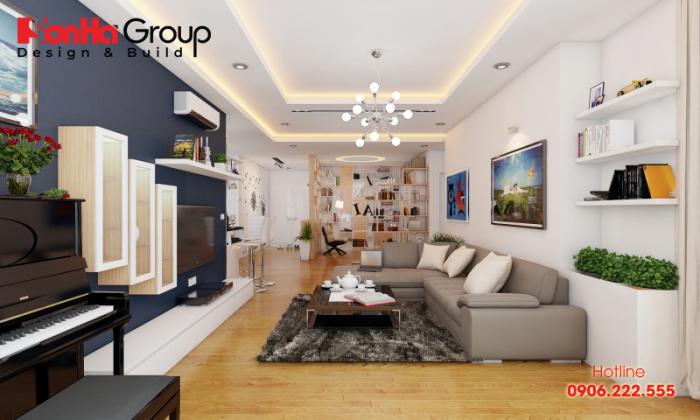 Thiết kế nội thất phòng khách căn hộ đẹp với khung ảnh trang trí