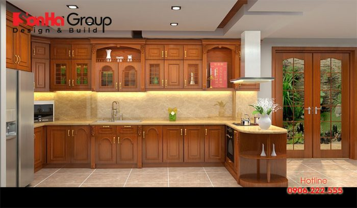 Các mẫu tủ bếp gỗ tự nhiên cũng đang rất được sử dụng phổ biến hiện nay