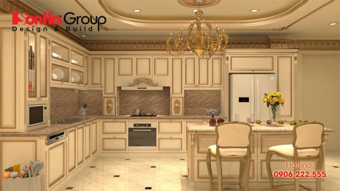 Mẫu thiết kế bếp đẹp phong cách tân cổ điển cho căn hộ chung cư