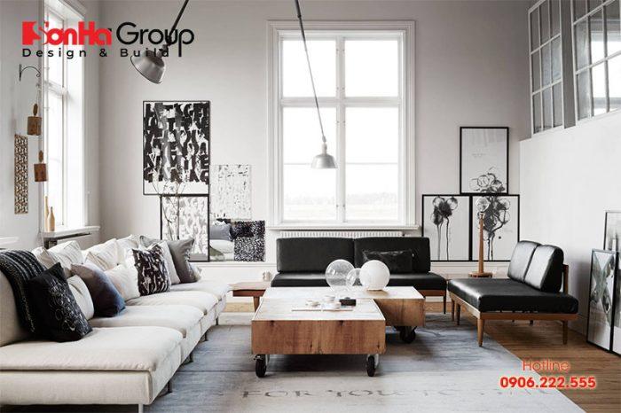 Phòng khách Vintage đẹp với màu trắng kết hợp màu trung tính
