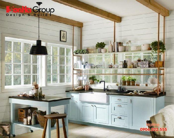 Thiết kế bếp ăn căn hộ chung cư ấn tượng với màu sắc thanh nhã và phong thủy