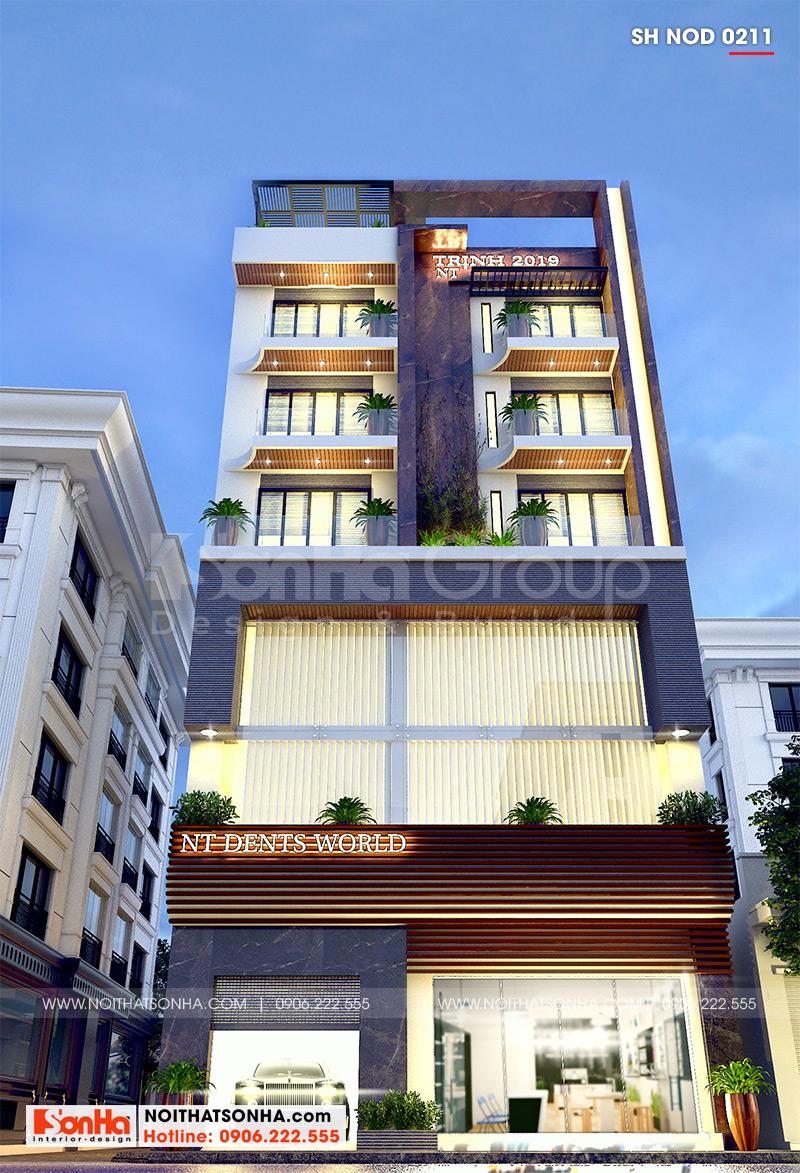 Kiến trúc nhà ống 5 tầng hiện đại có thang máy tiện ích, sở hữu mặt tiền 12m32 khang trang đem lại không gian kinh doanh và nơi sinh hoạt ý nghĩa cho chủ đầu tư