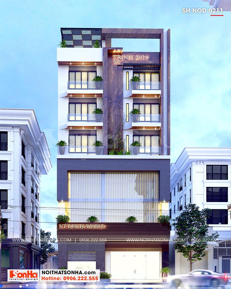 Kiến trúc nhà ống đẹp 6 tầng hiện đại toát lên nét khỏe khoắn, sang trọng và tinh tế