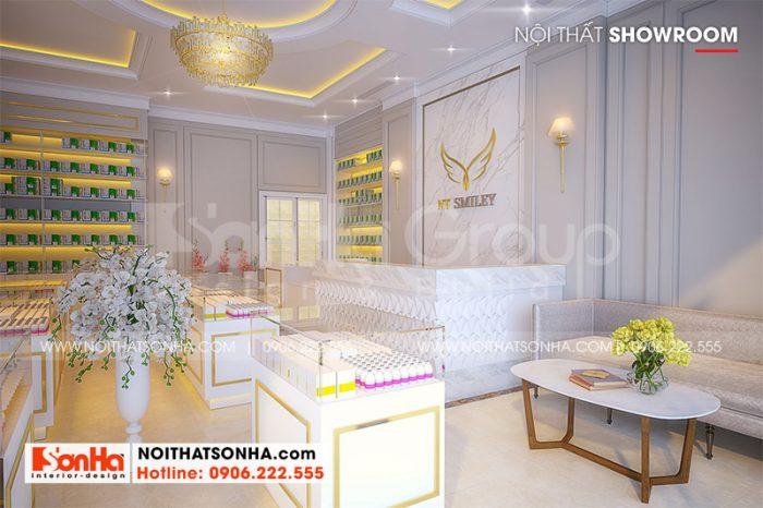 4 Bố trí nội thất showroom tầng 1 nhà ống mặt tiền rộng tại hà nội sh nod 0211 (2)