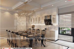 9 Bố trí nội thất phòng bếp ăn nhà ống hiện đại mặt tiền rộng tại hà nội sh nod 0211