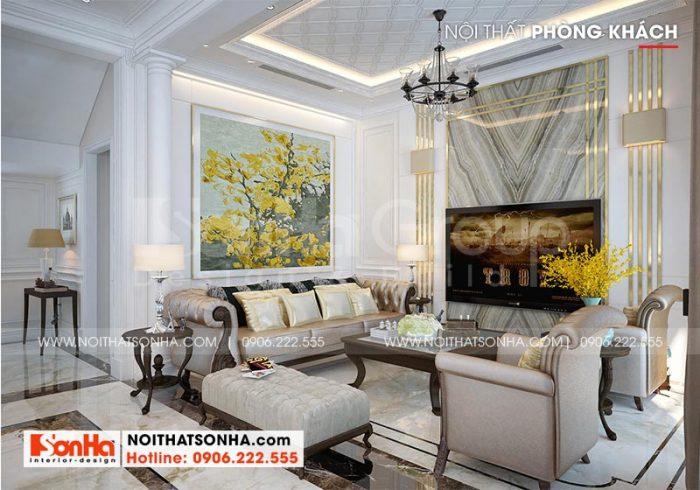 Thiết kế nội thất phòng khách biệt thự Vinhomes Imperia phong cách tân cổ điển sang trọng với tông màu trắng sữa chủ đạo