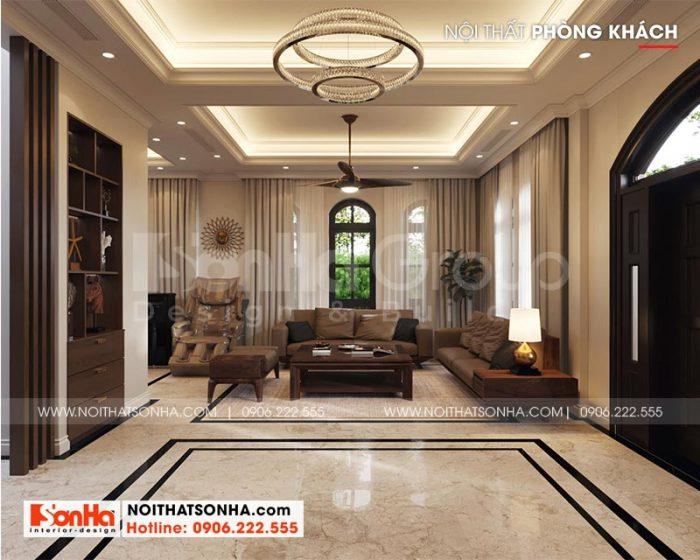 Thiết kế nội thất phòng khách tân cổ điển với các đường nét tinh tế và hài hòa