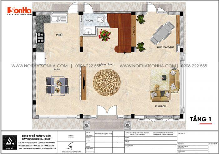 Bản vẽ chi tiết công năng tầng 1 biệt thự tân cổ điển diện tích 144m2 (12m x 12m) tại Vinhomes Imperia Hải Phòng