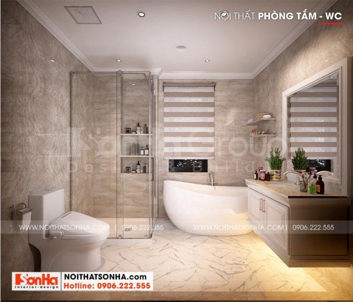 Thiết kế nội thất phòng tắm tiện nghi trong căn phòng ngủ master biệt thự phân khu Venice
