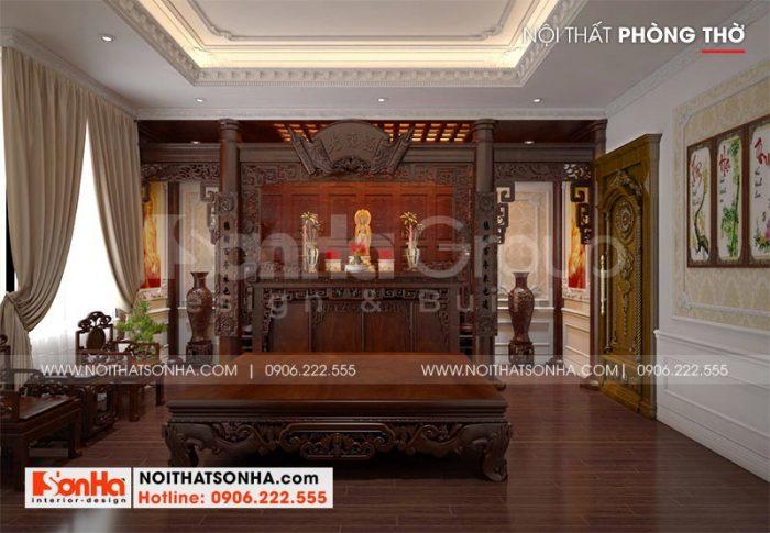 Thiết kế nội thất phòng thờ tôn nghiêm chuẩn phong thủy theo đúng nguyện vọng của gia chủ