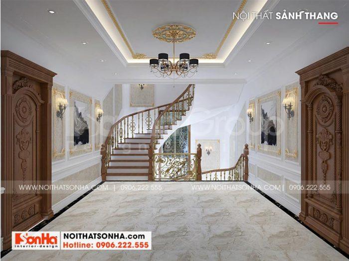 Mẫu thiết kế sảnh thang biệt thự lâu đài kiểu pháp được chủ đầu tư đánh giá cao