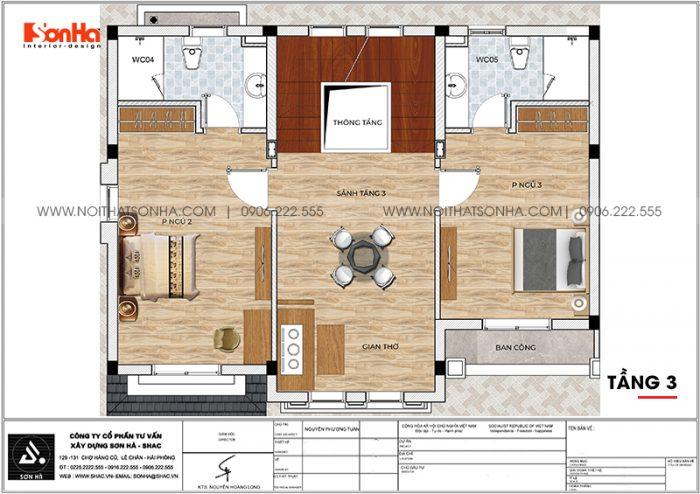 Phương án bố trí công năng tầng 3 biệt thự tân cổ điển Venice Vinhomes Imperia