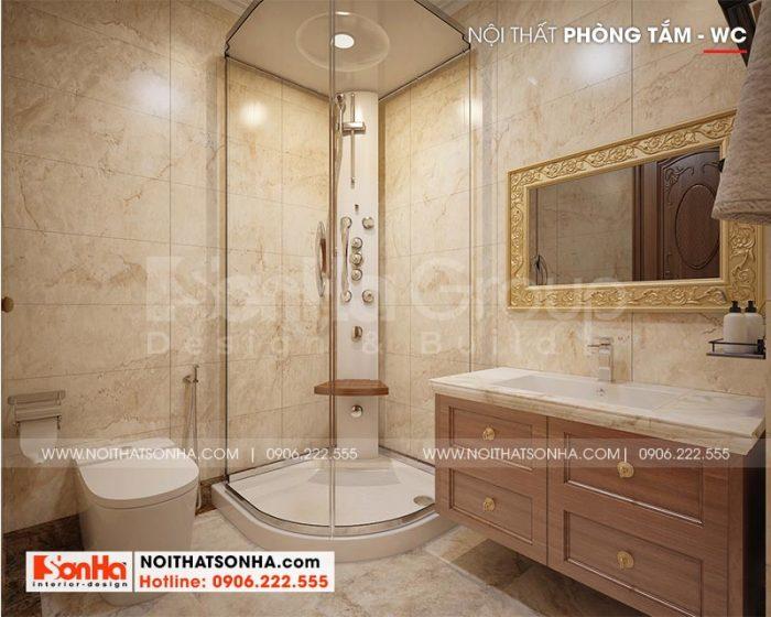 Mẫu thiết kế phòng tắm – nhà vệ sinh với nội thất cao cấp dành cho biệt thự 4 tầng tại Long An