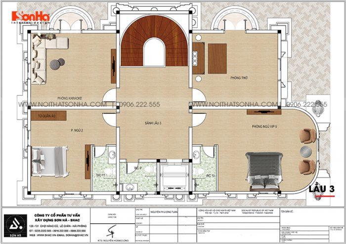 Bản vẽ công năng chi tiết lầu 3 biệt thự lâu đài Pháp sang trọng tại Long An