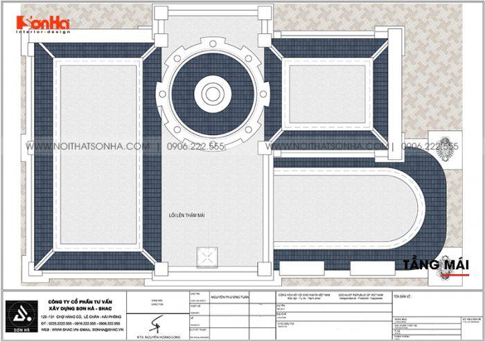 Bản vẽ công năng chi tiết tầng mái biệt thự lâu đài Pháp sang trọng tại Long An
