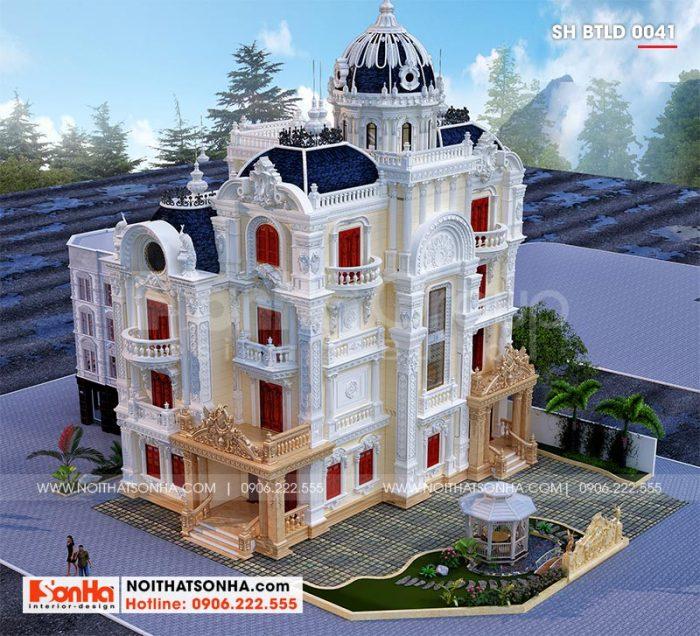Phối cảnh kiến trúc tổng thể biệt thự lâu đài xa hoa 4 tầng 1 tum