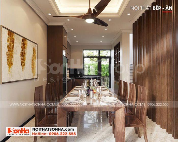 Không gian phòng bếp ăn biệt thự Venice Vinhomes sang trọng với bố cục mạch lạc sử dụng nội thất gỗ tự nhiên cao cấp