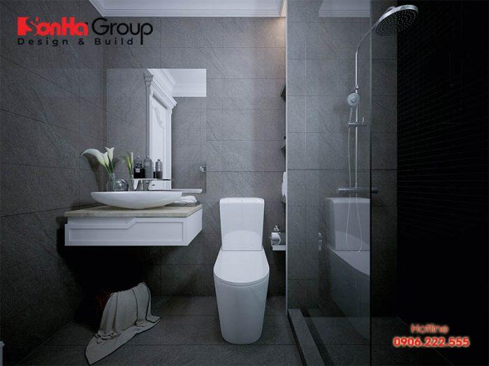 Không gian phòng tắm rộng rãi có thiết kế nội thất cao cấp chuẩn phong thủy