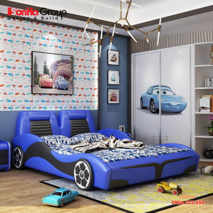 Phong cách bày trí đồ nội thất gọn gàng, đơn giản sẽ đem lại nơi nghỉ ngơi sinh động cho con trai