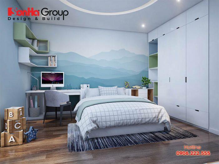 Phòng ngủ con trai với nội thất hiện đại nhẹ nhàng được bày trí ngăn nắp hài hòa với diện tích căn phòng
