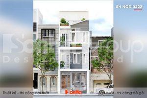 BÌA thiết kế nhà ống hiện đại 4 tầng 3 phòng ngủ tại sài gòn sh nod 0222
