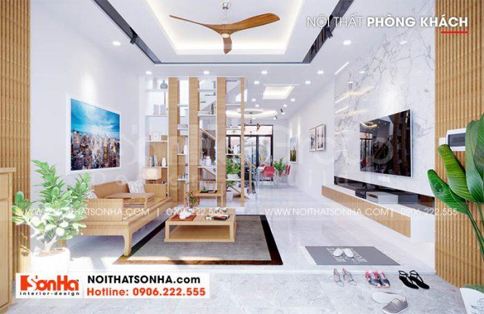 Nội thất phòng khách tầng 1 nahf phố Hoàng Huy Mall mặt tiền 5m tại Hải Phòng