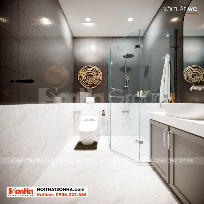 Nội thất phòng tắm trong nhà phố Hoàng Huy Mall 4 tầng tại Hải Phòng